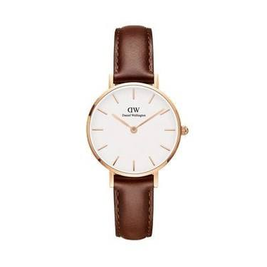 Daniel Wellington Petite St Mawes 28mm Rose Gold + Brown Watch   - Click to view larger image