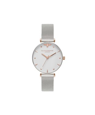 Olivia Burton Queen Bee Silver Mesh Watch  - Click to view larger image