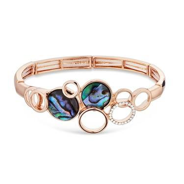 August Woods Rose Gold Abalone Circles Bracelet   - Click to view larger image
