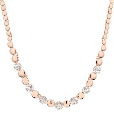 August Woods Rose Gold Crystal Alternate Circle Necklace  - Click to view larger image