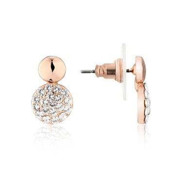 August Woods Rose Gold Crystal Alternate Circle Earring  - Click to view larger image