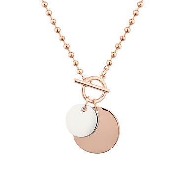 Dirty Ruby Rose Gold Ball Chain Toggle Necklace  - Click to view larger image
