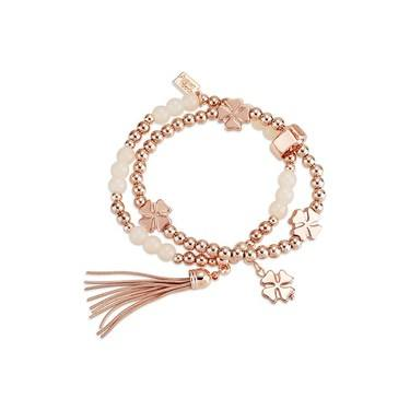 August Woods Rose Gold Beaded Tassel Bracelet