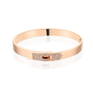 Dirty Ruby Rose Gold Champagne Crystal Clasp Bangle  - Click to view larger image