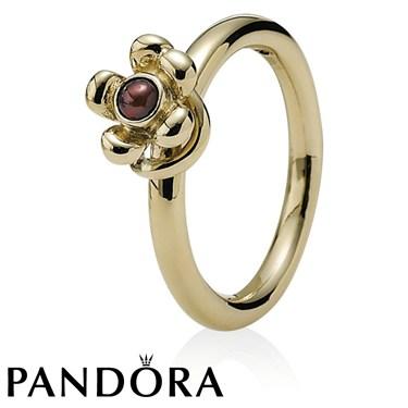 Pandora Garnet Flower Ring