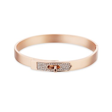 Dirty Ruby Rose Gold Clear Crystal Clasp Bangle  - Click to view larger image