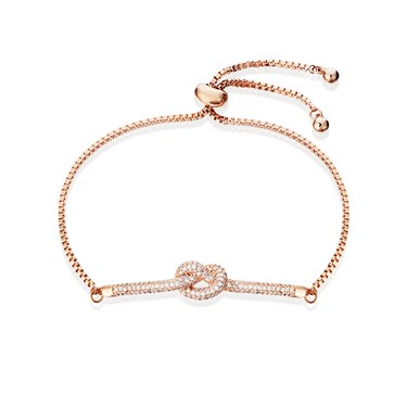August Woods Rose Gold Clear Crystal Knot Pull Bracelet  - Click to view larger image