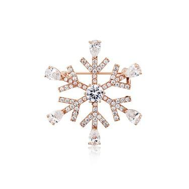 August Woods Rose Gold Clear Crystal Snowflake Brooch  - Click to view larger image