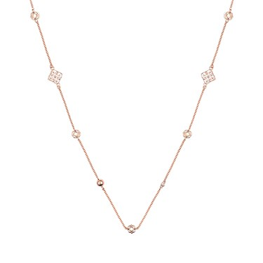 August Woods Rose Gold Cream Open Work Circle Necklace  - Click to view larger image