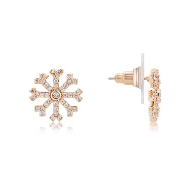 August Woods Rose Gold Crystal Snowflake Stud Earring  - Click to view larger image