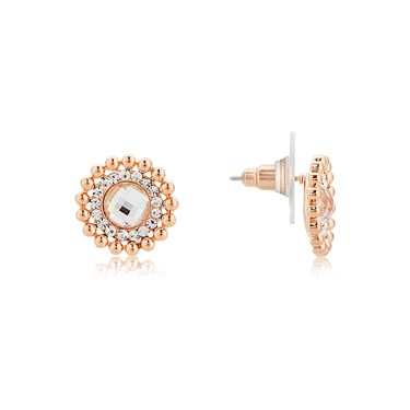 August Woods Rose Gold Dimples Halo Stud Earrings  - Click to view larger image
