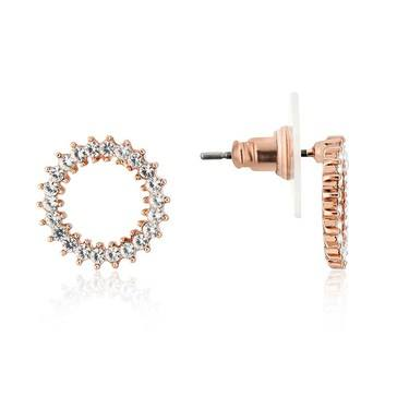 August Woods Rose Gold Crystal Open Circle Earring  - Click to view larger image