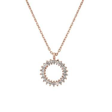 August Woods Rose Gold Crystal Open Circle Necklace  - Click to view larger image