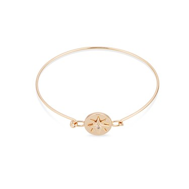 Dirty Ruby Rose Gold Crystal Star Closed Bangle  - Click to view larger image