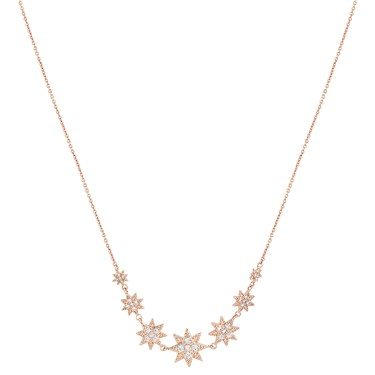 Dirty Ruby Rose Gold Crystal Stars Necklace  - Click to view larger image