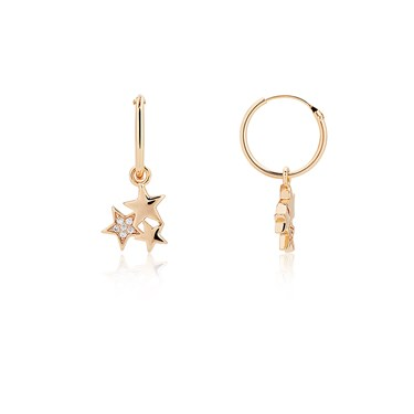Dirty Ruby Rose Gold Drop Trio Crystal Star Earrings  - Click to view larger image