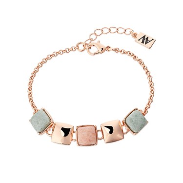 August Woods Rose Gold Green Pink Square Bracelet  - Click to view larger image