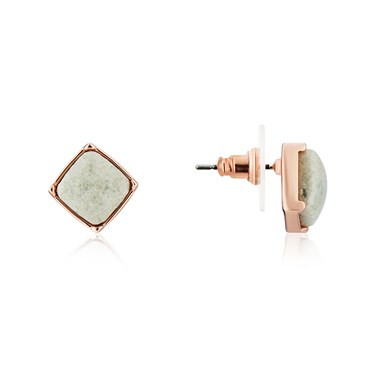 August Woods Rose Gold Green Square Stud Earrings  - Click to view larger image