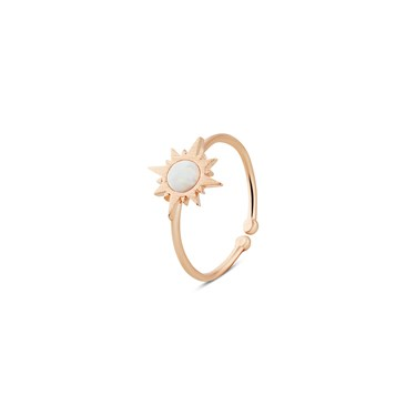 Dirty Ruby Rose Gold Opal Sun Adjustable Ring  - Click to view larger image
