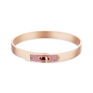 Dirty Ruby Rose Gold Pink Crystal Clasp Bangle  - Click to view larger image