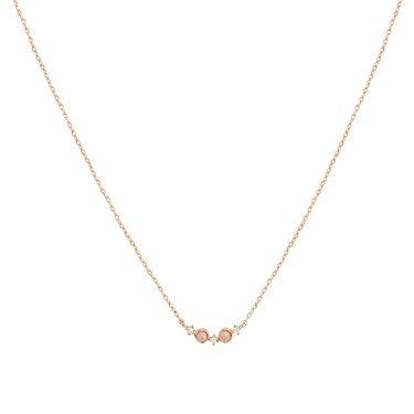 Dirty Ruby Rose Gold Pink Moonstone Crystal Curve Necklace  - Click to view larger image