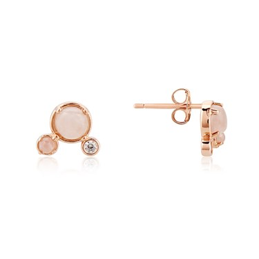 Dirty Ruby Rose Gold Pink Moonstone Crystal Stud Earrings  - Click to view larger image