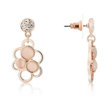 August Woods Rose Gold Pink Stone Circle Earrings  - Click to view larger image