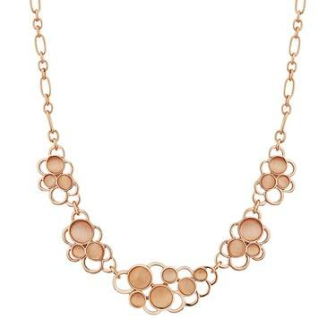 August Woods Rose Gold Pink Stone Circles Necklace  - Click to view larger image