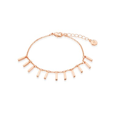 Dirty Ruby Rose Gold Plain Lines Drop Bracelet  - Click to view larger image