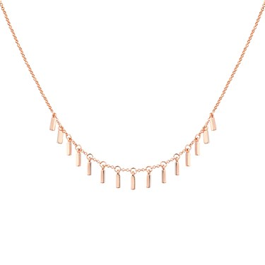 Dirty Ruby Rose Gold Plain Lines Drop Necklace  - Click to view larger image