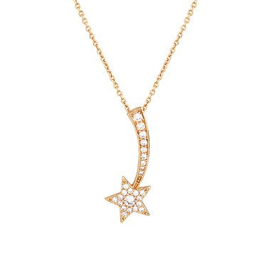Dirty Ruby Rose Gold Shooting Crystal Star Necklace  - Click to view larger image