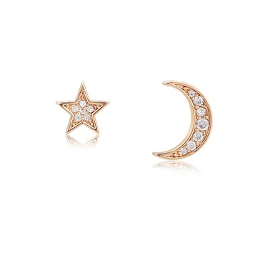 Dirty Ruby Rose Gold Star and Moon Stud Earrings  - Click to view larger image