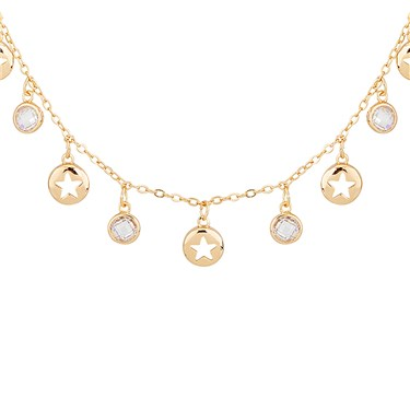 Dirty Ruby Rose Gold Star Moon Charm Necklace  - Click to view larger image