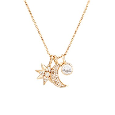 Dirty Ruby Rose Gold Star Moon Crystal Charm Necklace  - Click to view larger image