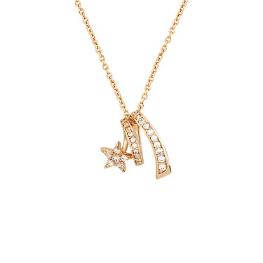 Dirty Ruby Rose Gold Swirling Crystal Star Necklace  - Click to view larger image