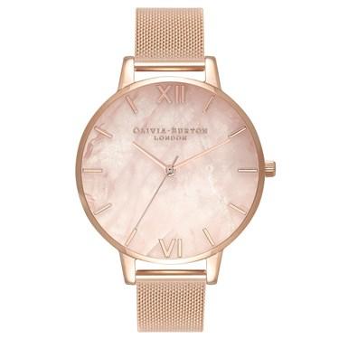 Olivia Burton Semi Precious Rose Gold Mesh Watch  - Click to view larger image