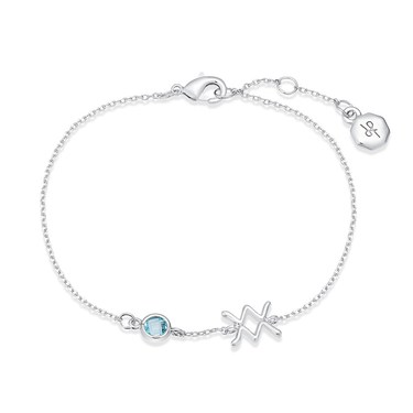 Dirty Ruby Silver Aquarius Blue Crystal Bracelet  - Click to view larger image