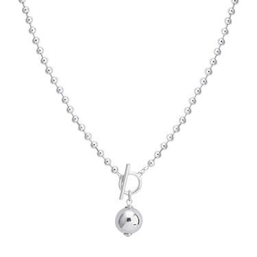 August Woods Silver Ball Chain T-bar Necklace  - Click to view larger image