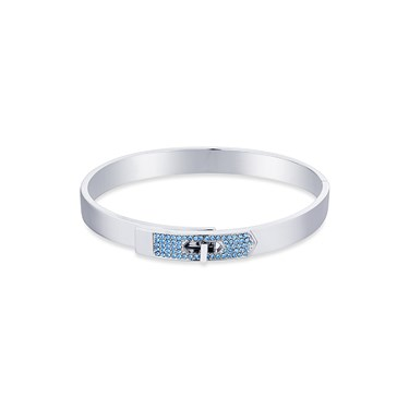 Dirty Ruby Silver Blue Crystal Clasp Bangle  - Click to view larger image