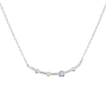 Dirty Ruby Silver Blue Moonstone Curve Necklace  - Click to view larger image