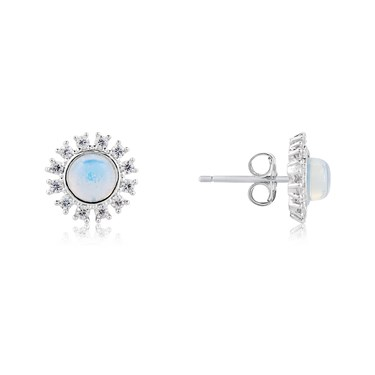 Dirty Ruby Silver Blue Moonstone Halo Earrings  - Click to view larger image