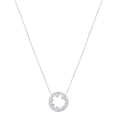August Woods Silver Circle CZ Inner  Necklace  - Click to view larger image