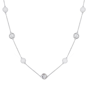 August Woods Silver Clear Crystal Alternate Long Necklace  - Click to view larger image