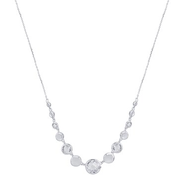 August Woods Silver Clear Crystal Alternate Necklace  - Click to view larger image