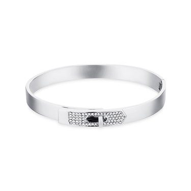 Dirty Ruby Silver Clear Crystal Clasp Bangle  - Click to view larger image