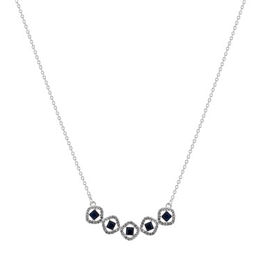 August Woods Silver Clear Crystal Blue Glass Necklace  - Click to view larger image