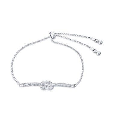 August Woods Silver Clear Crystal Knot Pull Bracelet  - Click to view larger image