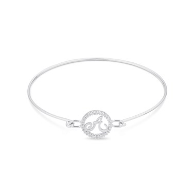 August Woods Silver Crystal A Initial Bangle  - Click to view larger image