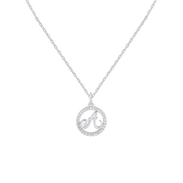 August Woods Silver Crystal A Initial Necklace  - Click to view larger image