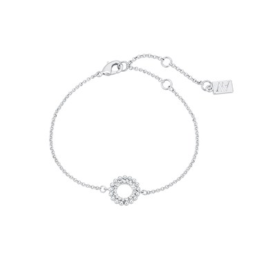 August Woods Silver Crystal Accent Open Circle Bracelet  - Click to view larger image